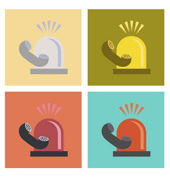 Assembly flat icons nature phone alarm lamp vector