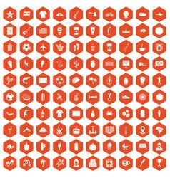 100 south america icons hexagon orange vector