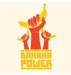 Banana power isolated poster vector