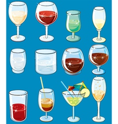 icons with alcohol beverages and drinks vector image