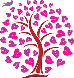 Ornaments heart tree with bird vector