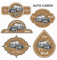 Set of vintage car cards vector
