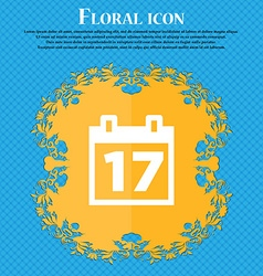 Calendar date or event reminder floral flat vector