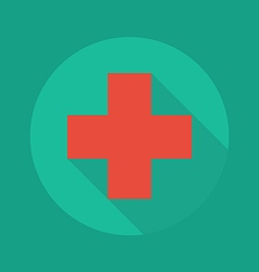 Medical flat icon red cross vector