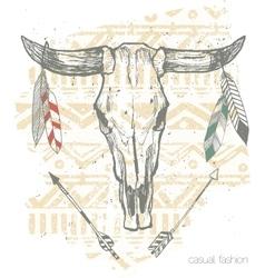 Bull skull print vector