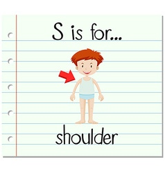 Flashcard letter s is for shoulder vector