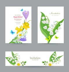 Cute invitation cards with fine collection spring vector