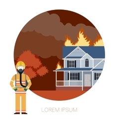 Fire in the house 2 vector image