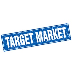 Target market blue square grunge stamp on white vector