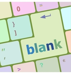 Blank button on computer pc keyboard key vector