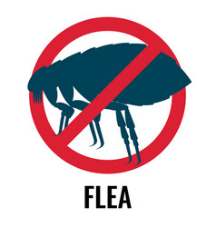 Anti-flea emblem of red and blue colours vector