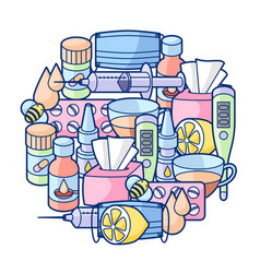 Background with medicines and medical objects vector