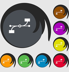 Bezier curve icon sign symbols on eight colored vector