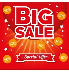 Big sale special offer stars bright red background vector