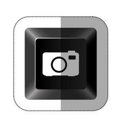 Black button camera icon vector