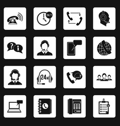 Call center symbols icons set squares vector