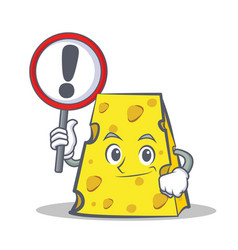 Cheese character cartoon style with sign vector