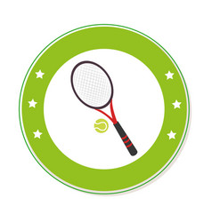 Color circular frame with ball and tennis racket vector