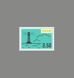 country lighthouse postage stamp vector image