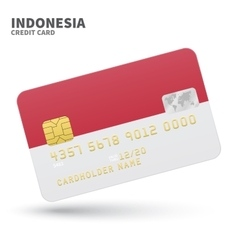 Credit card with Indonesia flag background for vector image