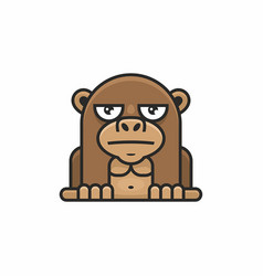 Cute monkey icon on white background vector