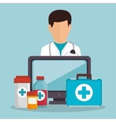 Doctor male fisrt aid medicine computer vector
