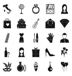 Festival icons set simple style vector