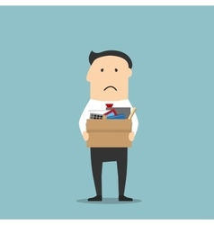 Fired businessman leaving office with box vector