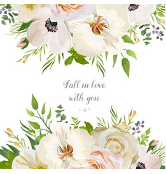 floral design card with garden rose anemone white vector image vector image