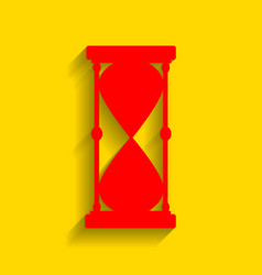 hourglass sign red icon with vector image
