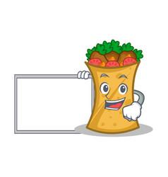 Kebab wrap character cartoon with board vector
