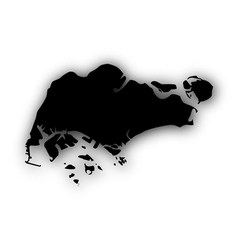 Map of singapore with shadow vector