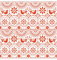 Mexican folk art seamless pattern birds vector