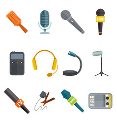 microphone icon isolated interview music tv vector image