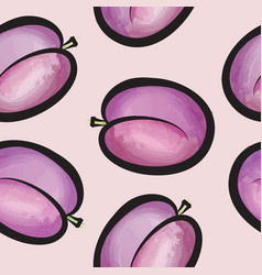 Plum watercolor seamless pattern juicy fruits vector