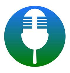 Retro microphone sign white icon in vector