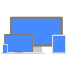 Set of flat display laptop tablet computer and vector image