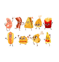 set of funny fast food characters with human faces vector image vector image