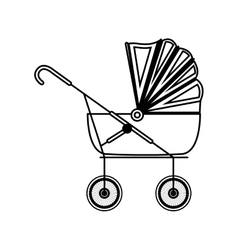 Silhouette cute baby carriage with soft top vector