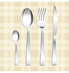 Tea spoon spoon fork and knife vector