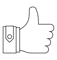 Thumbs up icon outline style vector