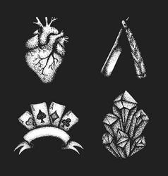 vintage engraving set vector image vector image