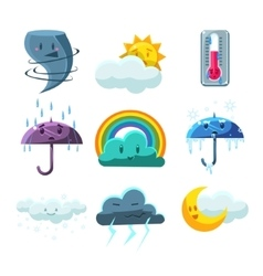 Weather forecast pictures set vector