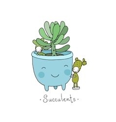 Cartoon cute succulents in pot vector image