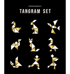 Classic tangram game icon set in gold color vector image