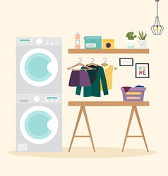 Laundry room with facilities for washing wash vector