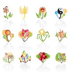 12 abstract flowers vector image vector image