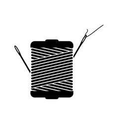 Monochrome silhouette with thread spool and sewing vector