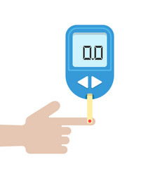 home glucometer with hand vector image