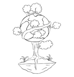 hand draw tree world for earth day vector image